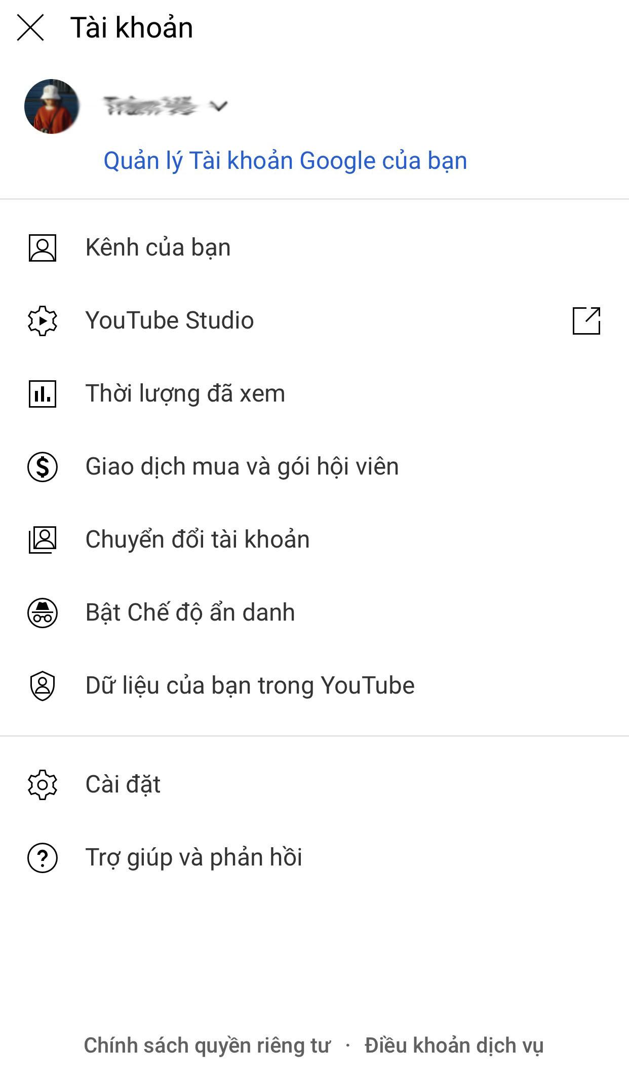 Chọn kênh của bạn trên youtube