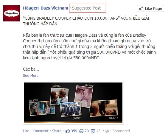 quảng cáo facebook đề xuất bài đăng