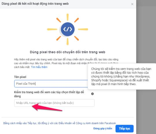 đặt tên Pixel Facebook