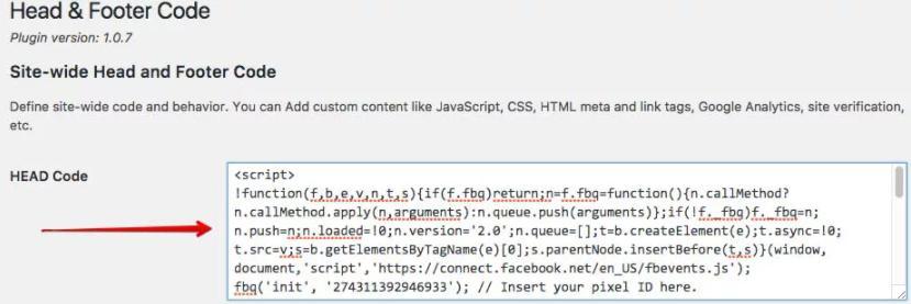 Pixel Facebook chèn vào wordpress