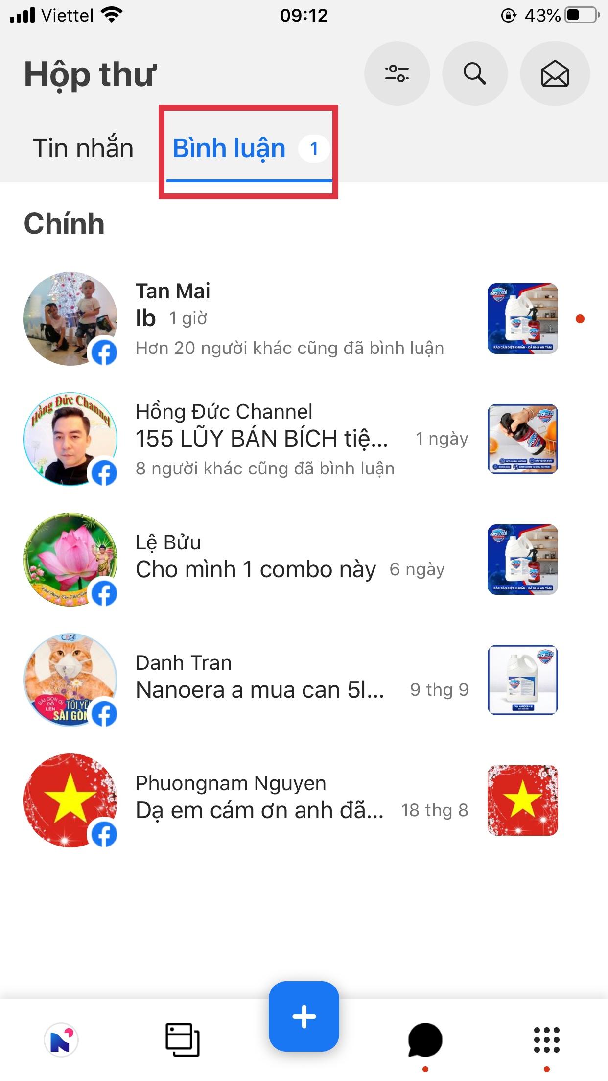 trả lời bình luận fanpage trên iphone