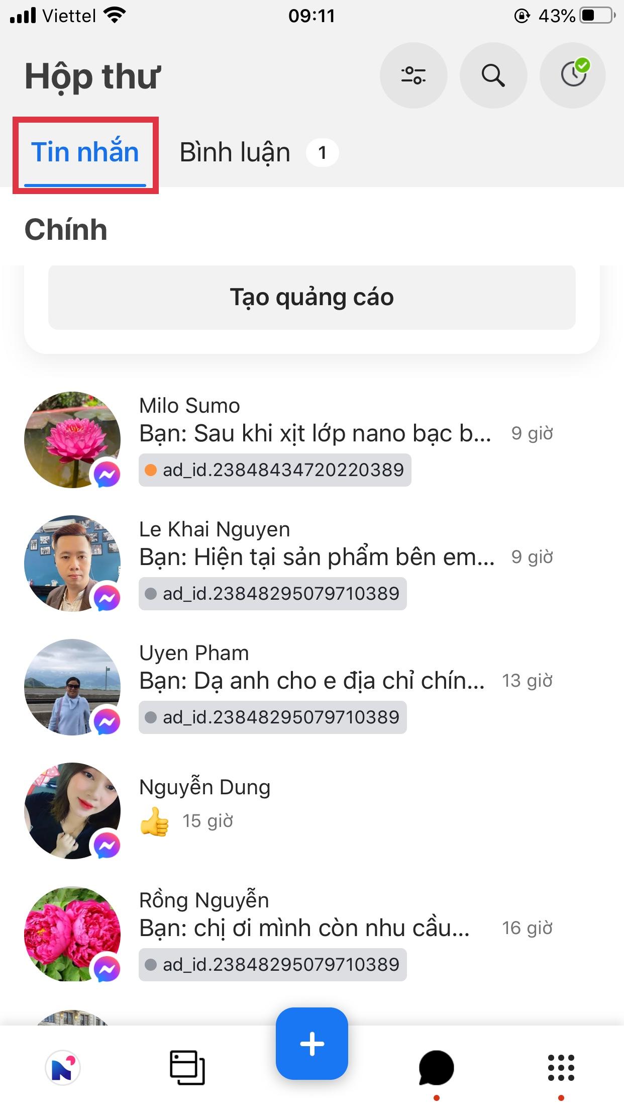 trả lời tin nhắn fanpage trên iphone